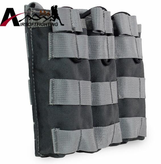 TACTICAL MOLLE VEST TRIPLE OPEN-TOP MAGAZINE POUCH FAST AK AR M4 FAMAS MAG POUCH AIRSOFT HUNTING MAGAZINE HOLSTER BAG