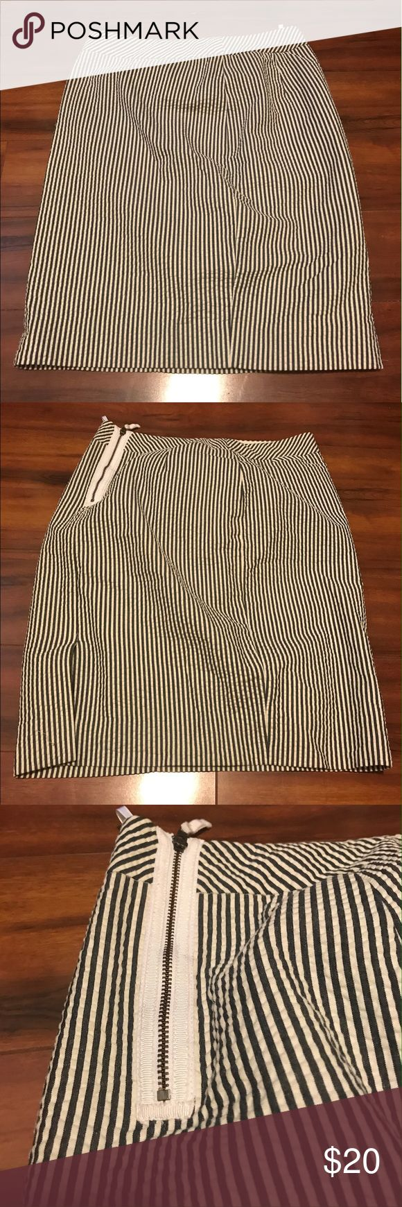 J-crew striped pencil skirt Blue and white stripe pencil skirt! J. Crew Skirts Pencil