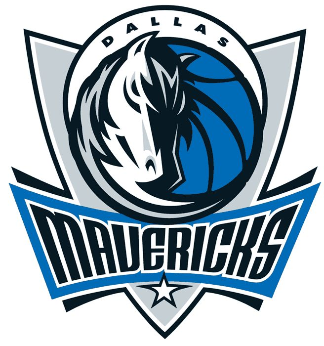 Dallas Mavericks Primary Logo (2002) - A shield with a horse head and a half moon with script