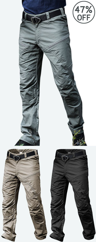 Mens Outdoor Muti-Pockets Pants Water-repellent Ta…