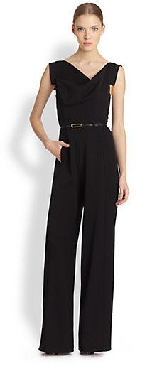 $390, Black Jumpsuit: Black Halo Jackie Jumpsuit. Sold by Saks Fifth Avenue. Click for more info: http://lookastic.com/women/shop_items/53380/redirect