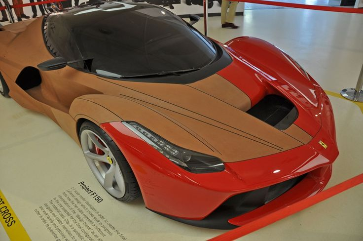 """LaFerrari Clay Model - 1:1 scale model developed in order to create thr final LaFerrari design which shows work in progress. Note how the two sides represent a different interpretation of the """"design theme"""" as an alternative to the one selected for the final configuration. The material is clay."""