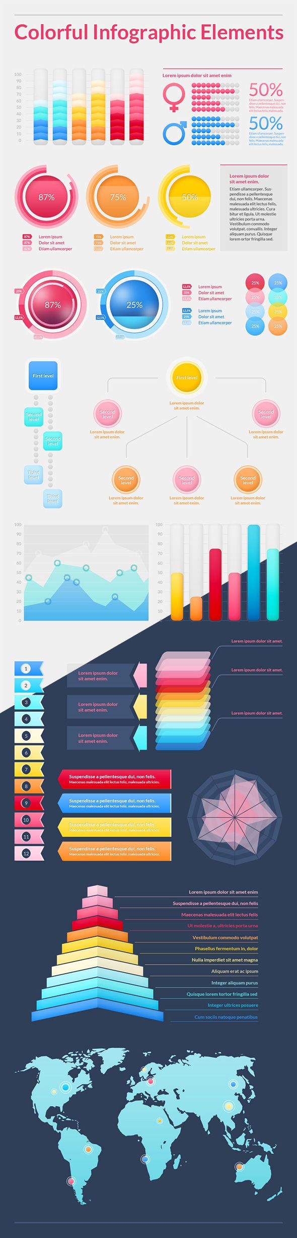 Colorful Infographic Elements -- I think a resume or wedding invite as an info graphic would be awesome