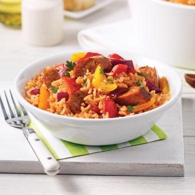 Casserole de riz aux saucisses italiennes - Soupers de semaine - Recettes 5-15 - Recettes express 5/15 - Pratico Pratique