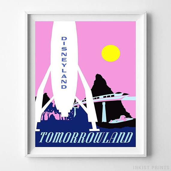 Disneyland Tomorrowland Home Decor Poster - Prices from $9.95 - Click Photo for Details - #disneyland#disneyfan#disneyattractions#babyroomdecor#vintage#Tomorrowland