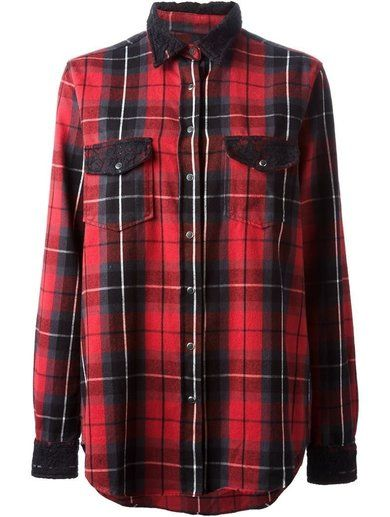 'Red cotton plaid print shirt from 0039 Italy.' www.sellektor.com