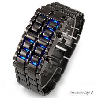 Edelstahl Uhr  schwarz  LED Anzeige blau