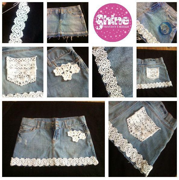 Gonna di jeans con cotone bianco lavorato in uncinetto 1.5 Rivesti il tuo vecchio jeans di fantasia