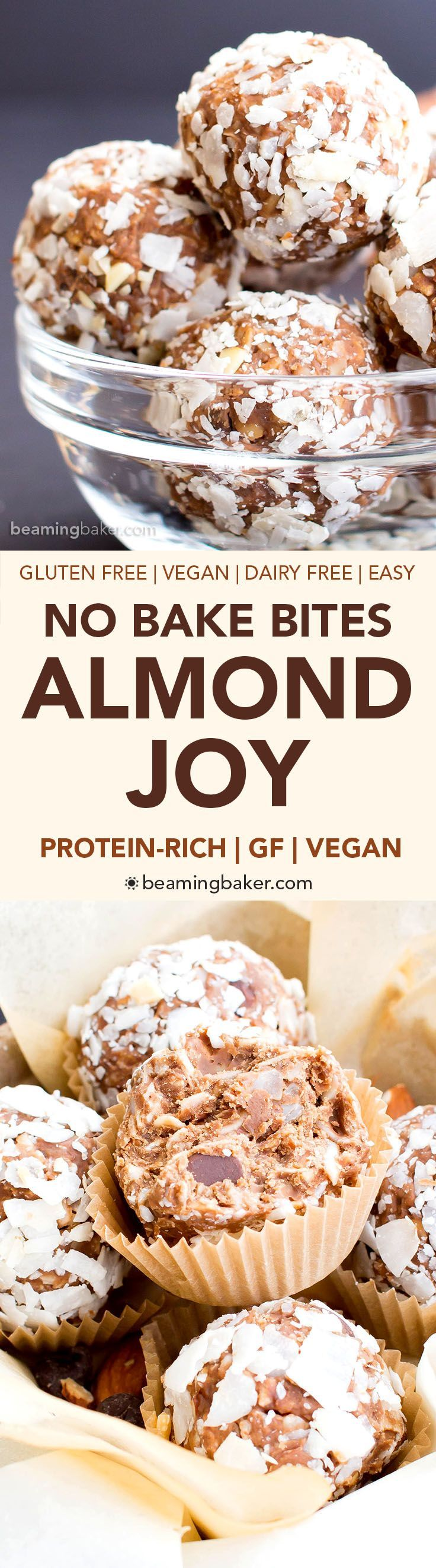 No Bake Gluten Free Almond Joy Energy Bites (V, GF, DF): a one bowl recipe for protein-packed energy bites bursting with Almond Joy flavors, made with simple ingredients. #Vegan #GlutenFree #DairyFree   BeamingBaker.com