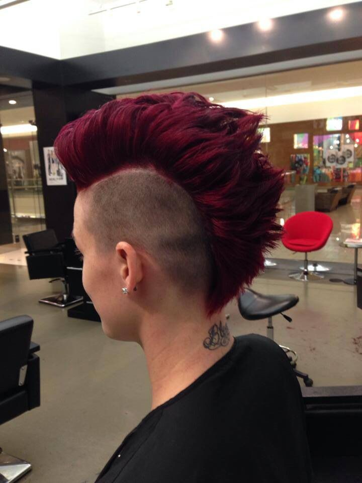 Red violet mohawk!  Beautiful color (by holly) and sweet haircut ( by Darren)  https://www.facebook.com/elcherryhill