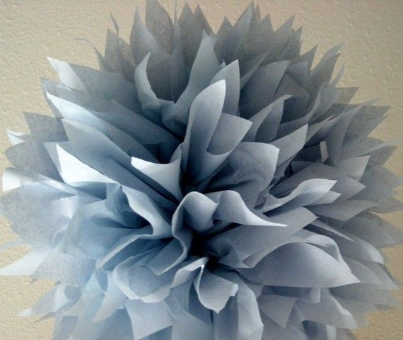 Steel Blue... 1 tissue paper pom // wedding decorations // diy // nautical // baptism decorations // nursery decor