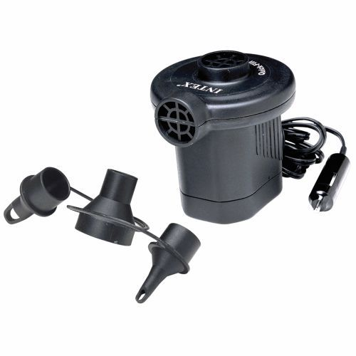 Air pump that will plug into your car outlet for $9.99 at Academy.  INTEX® Quick-Fill™ 12 VDC Electric Air Pump