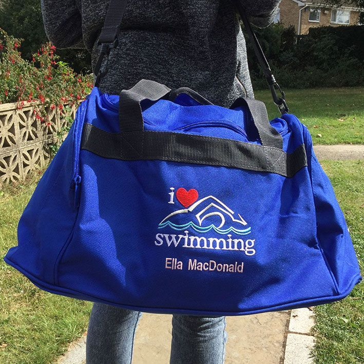 Buy This Holdall Sports Bag Embroidered To Order With The I LOVE SWIMMING Logo And A