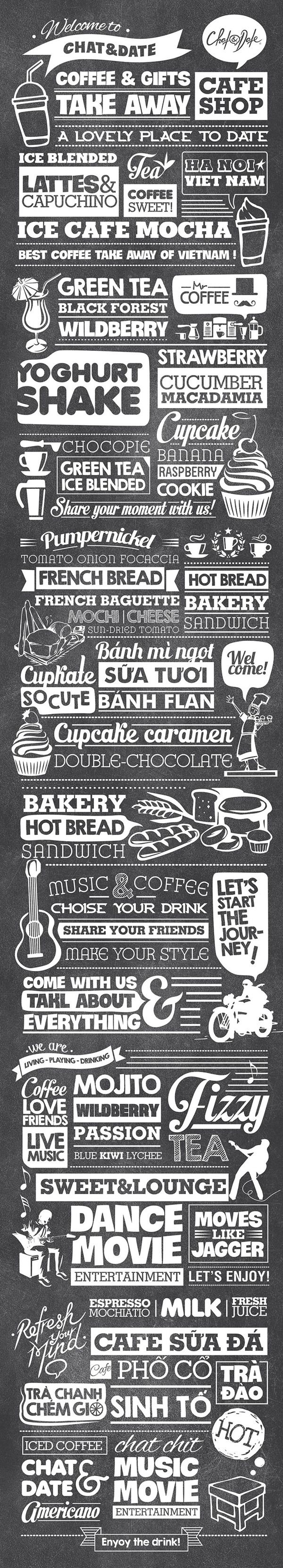 Typography Decoration for Chat&Date by Hieu Trieu, via Behance