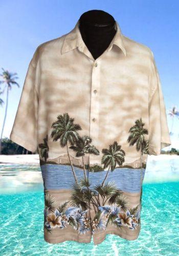 XL-Pierre-Cardi-Paradise-Palms-Men-039-s-Hawaiian-Shirt