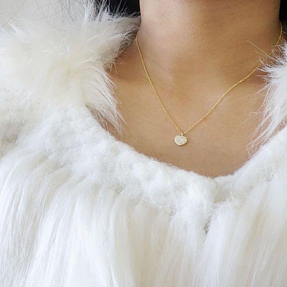 Diamond Heart Necklace Sterling Silver (925), CZ Pave Heart Shape 18K Gold Plating Necklace, Dainty Heart Love Necklace, Tiny Heart Necklace #DaintyHeartNecklace #PerfectGiftForHer #HeartNecklace