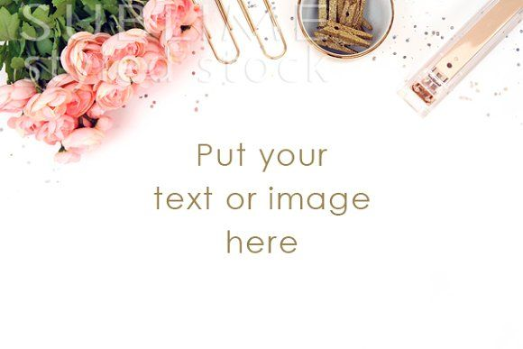 Styled Stock Desktop~Roses with gold by SUBLIME Styled Stock on @creativemarket