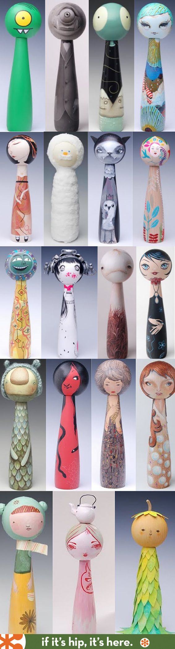 100 Artist Designed Kokeshi Dolls great exhibit of a modern take on a traditional japanese folk art