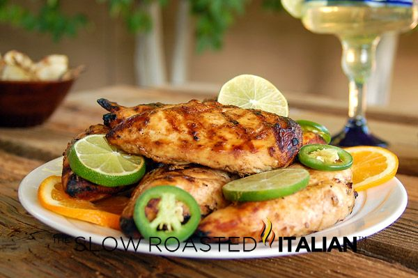 Grilled Margarita Chicken: Lots of lime and tequila in the marinade.