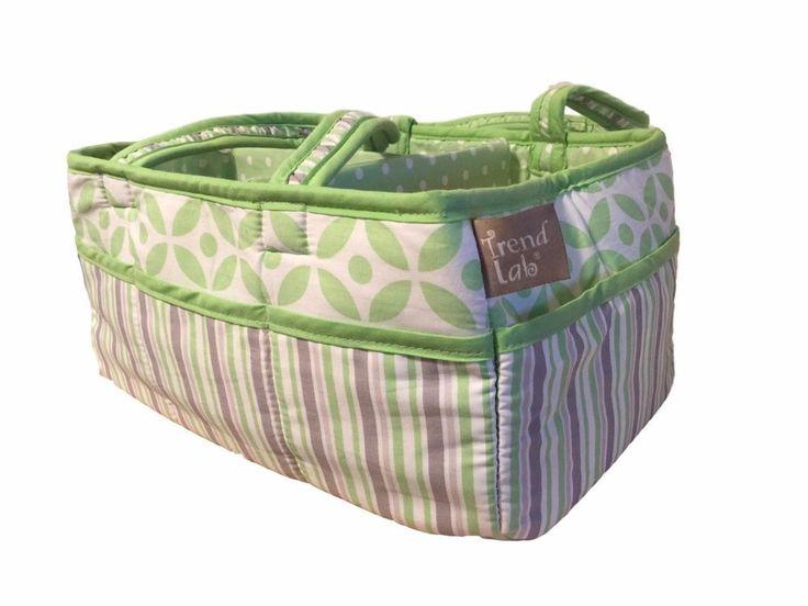 Trend Lab Lauren Storage Diaper Caddy Carrier Bag Green Nursery Organization NEW #TrendLab