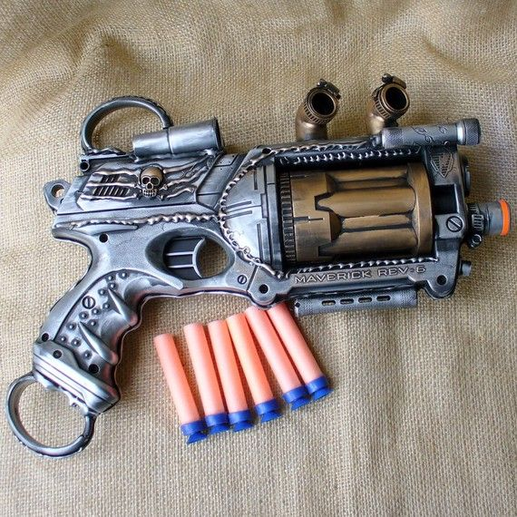 Steampunk Gun Nerf Maverick NStrike by oldjunkyardboutique on Etsy, $49.99