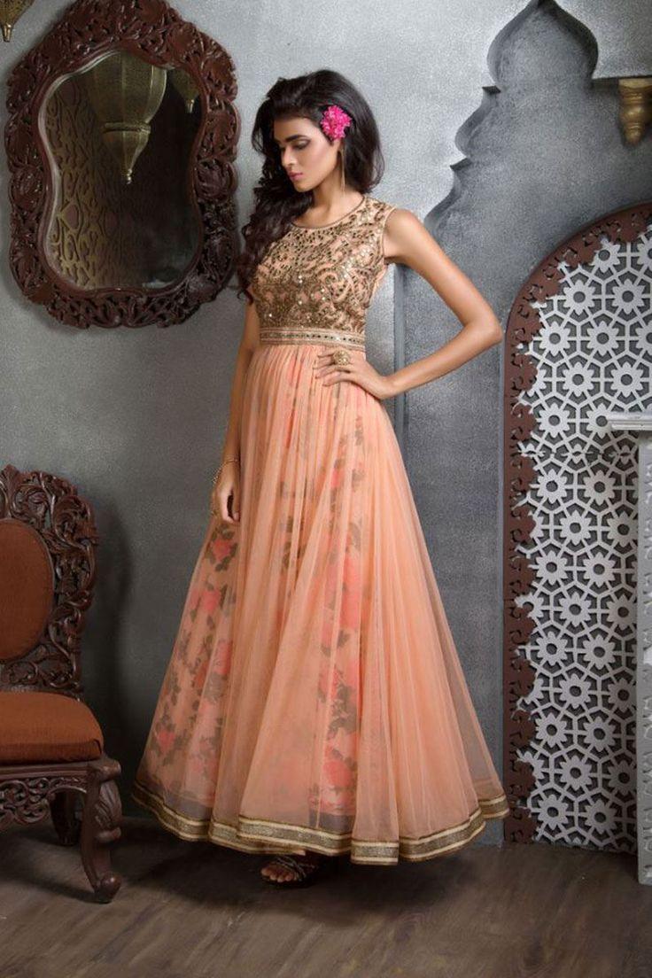 Picture of Ravishing peach anarkali with zari work
