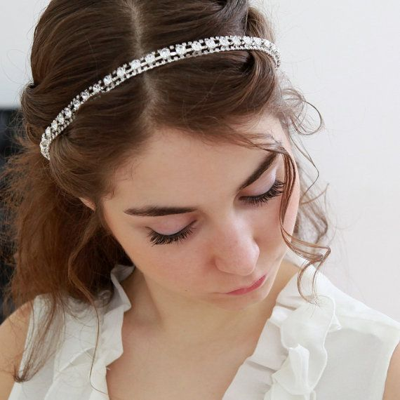 STYLE - #243 CODE:HDB008 Crystal head-wrap. Crystal headband features stunning silver plated crystal chain securely hand-sewn to off-white silk ribbons.  The chain is light and flexible, can be also stylized as a necklace. To order yours, contact us on loca@localoca.co.za www.localoca.co.za