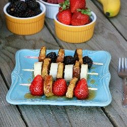 French Toast Kebabs with fresh fruit - what a great idea for a shower ...