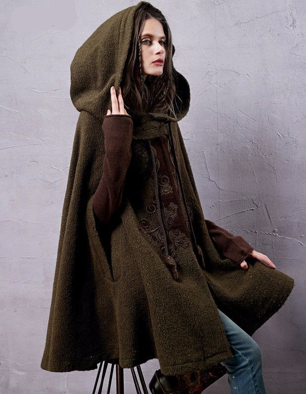 Hooded Wool CapeMaterial: Wool,RayonCollar: TurtleneckSleeve Length: Three QuarterMaterial Composition: Wool, Rayon