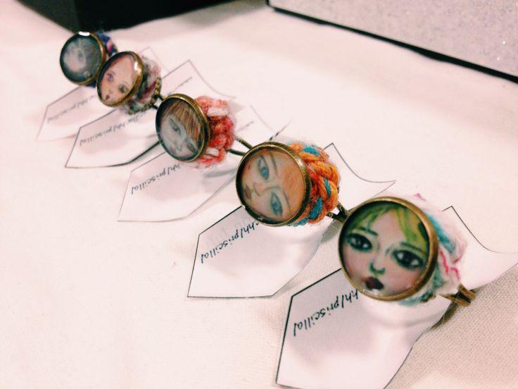 Jewellery, ring, face, crochet, yarn, design, handmade, illustration