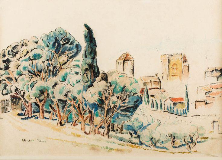 MELA MUTER (MARIA MELANIA MUTERMILCH 1876 - 1967)  PEJZAŻ   akwarela, papier / 34,5 x 49 cm