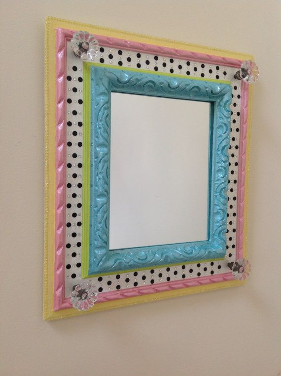 whimsical hand painted mirror in pastels by sharonmooradian funky