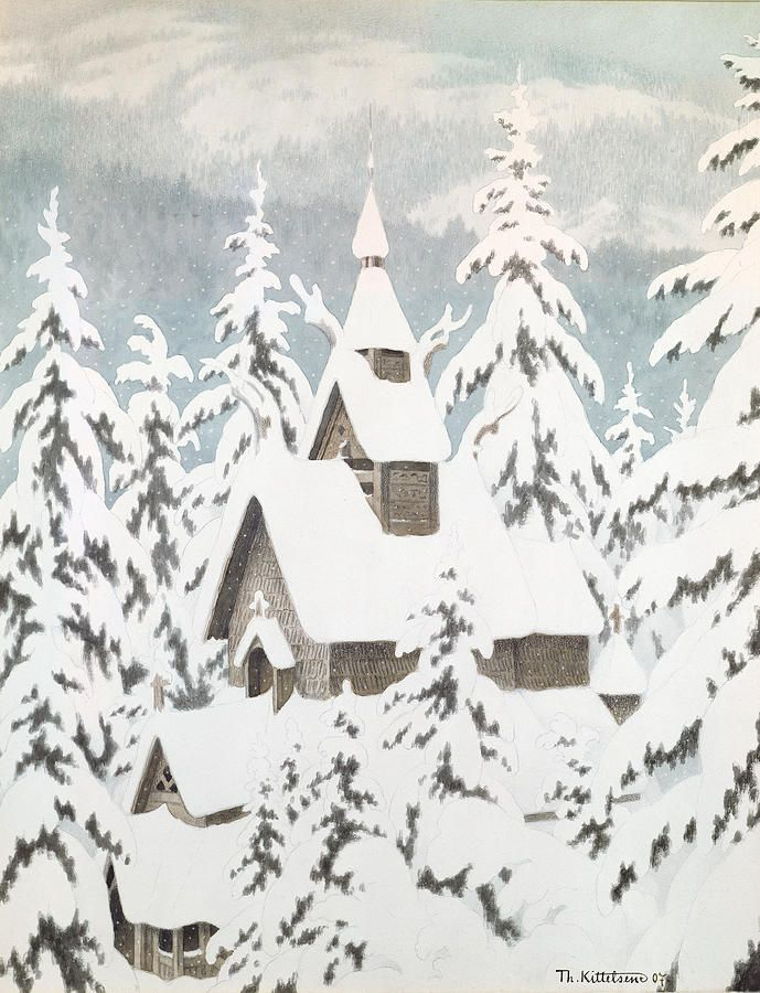 Theodore Kittelsen.  Church In the Snow.