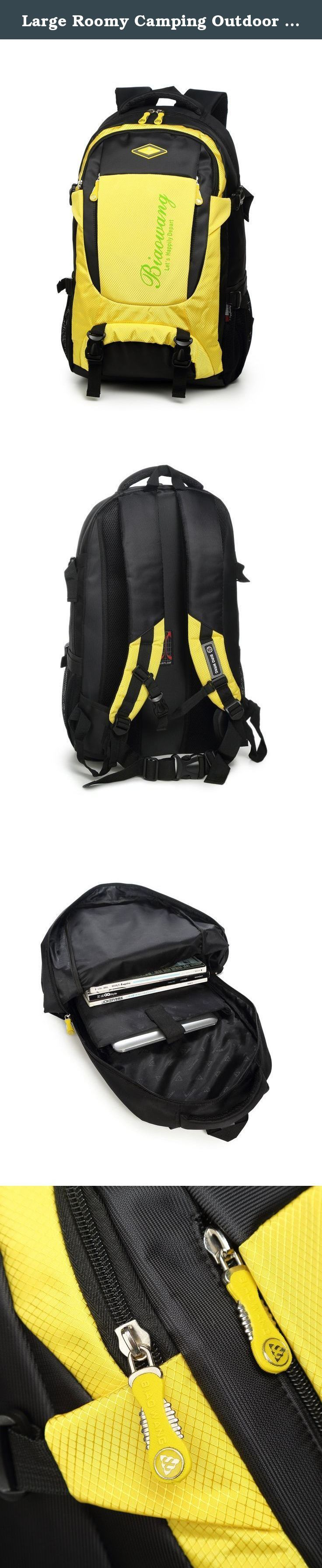 Large Roomy Camping Outdoor Sport Travel Backpack Bag Trekking Rucksacks for Father's Day. Well designed and made, lightweight and durable, Polyester back pad, more comfortable. Size: 13'' x 10'' x 22'' Dual mesh Pocketes at each side for water bottle, etc. With high density mesh back pad on shoulder strap and waist strap, more breathable and comfortable. Adjustable shoulder strap and waist strap to fit your comfortable.