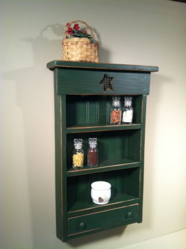 Rustic-Primitive-Country-Spice-Rack-with-Drawer-Deep-Spruce-Green