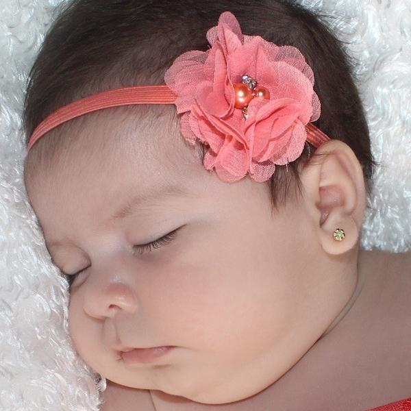 Heavenly Peach Flower Headband with Rhinestone - Headbands - AllBabyGirls - 1