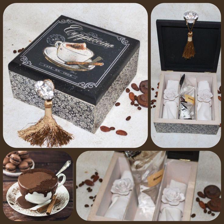 Купить Набор подарочный МОККА для двоих - коричневый, черный, кофе, кофейный, кофейные зерна, подарок