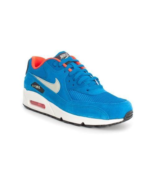 Zapatillas Nike Air Max 90, elaborado en una combinación de piel y sintético. Color azul con detalles en naranja. Gran comodidad con su cámara de aire.  #nike #nikeair #style #tiendaonline