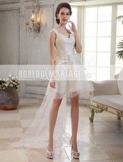 Traîne watteau robe de mariée civile longueur aux genoux applique tulle