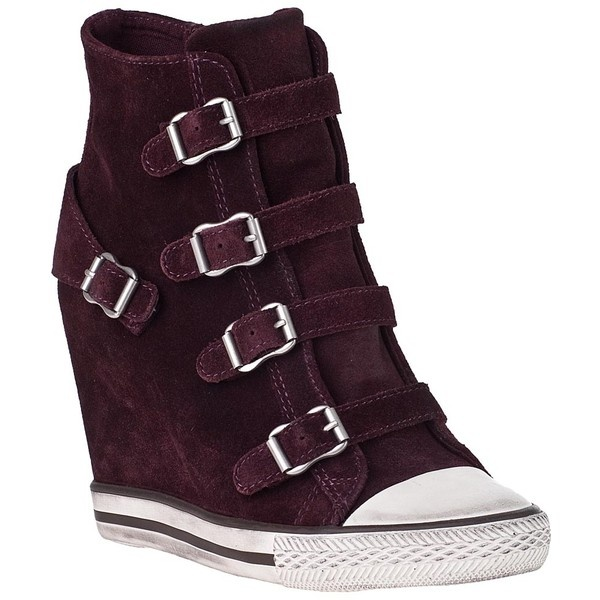 ASH United Wedge Sneaker Prune Suede ($225) ❤ liked on Polyvore