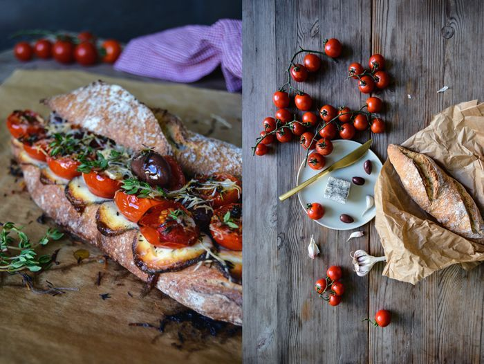 Grilled Tomato, Chèvre and Thyme Baguette Sandwich : eat in my kitchen