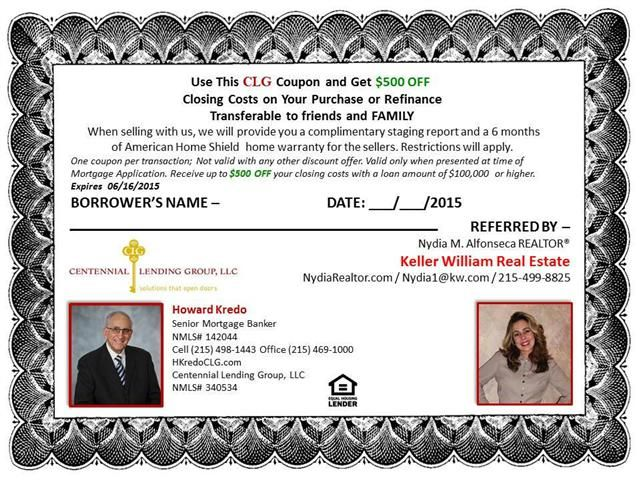 Use This CLG Coupon and Get 500 OFFClosing Costs on Your Purchase or RefinanceTransferable to friends and FAMILYWhen selling with us we will provide you a complimentary staging report (value of 295) and a 6 months of American Home Shield home warranty for the sellers(value of 520. Restrictions will apply.One coupon per transaction Not valid with any other discount offer. Valid at listing contract.Valid only when presented at the time of Mortgage Application. Receive up to 500 OFF your ...