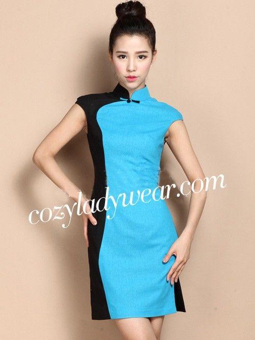 Custom Tailored Contrast Short Qipao / Cheongsam Dress