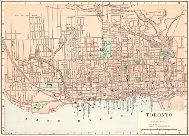 1893 Fisk and Co. Map of Toronto  These Atlas maps represent in a certain sense an 'outsider's' view of Toronto. They are straightforward and unadorned with the loving details of maps intended for local usage.  The utilitarian street map of Toronto shown below notably indicates steam-driven railway lines and horse-drawn transit (streetcar) routes. Also of interest are the very clearly labelled wharves along the waterfront.