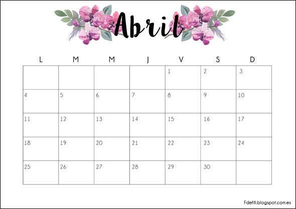 Calendario descargable Abril 2016
