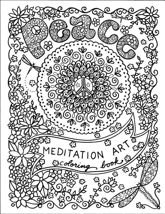 Coloring BOOK PeAcE Meditation Art To Color And Be The Artist