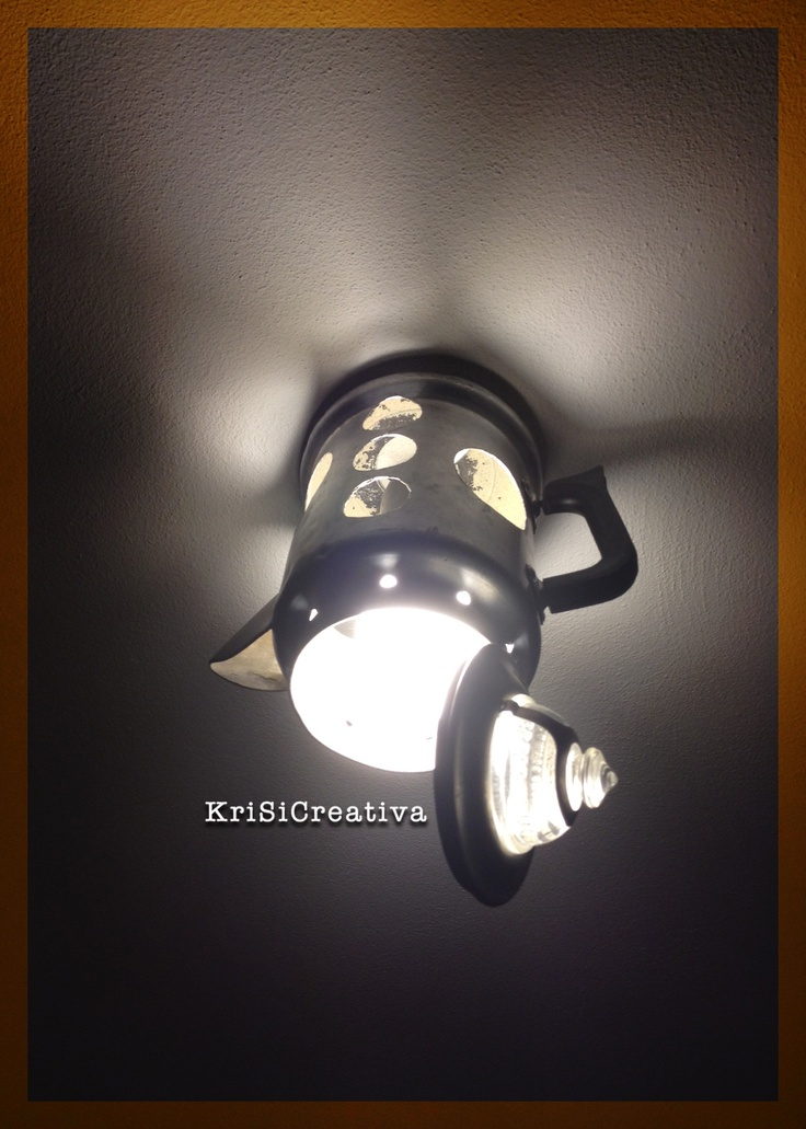 Vintage lamp made by recycling an American 50s teapot with an energy saving light bulb.     https://www.facebook.com/photo.php?fbid=218535074930428=a.217273981723204.45590.113038755480061=3