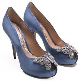 These #ArunaSeth Farfalla #Heel in Steel #Blue Satin are the perfect #somethingblue for your wedding!! <3 www.weddingworthy.com <3