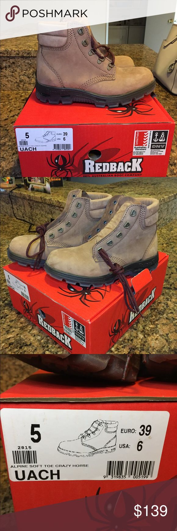 Redback Boots Never worn, brand new. Size 5.5 UK (8 women/6.5 men) they are very comfortable and will last for a couple years! Redback boots Shoes Ankle Boots & Booties