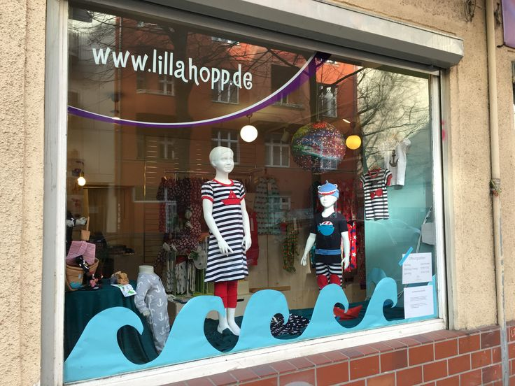 Lillahopp shop in Berlin - window decoration with Fred's World by Green Cotton clothes (nautical and pirate theme!)